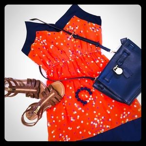 YA Los Angeles Medium Orange and Navy Dress - EUC